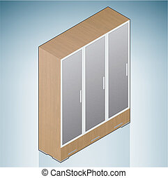 Furniture: Bedroom Cupboard with Glass Doors (part of the 3D...