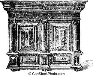 Furniture beginning of the seventeenth century, vintage engraved illustration. Industrial encyclopedia E.-O. Lami - 1875.
