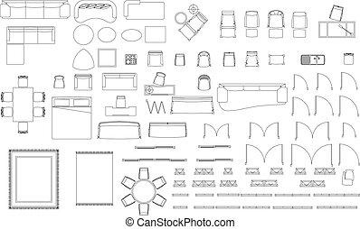 Furniture blocks set on white background
