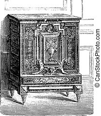 Furniture breast high inlaid ebony, Charles Boulle Louvre, vintage engraving.