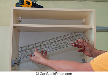 Furniture canopies can be screwed with screws to the closet door, close-up