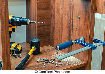 Furniture canopies can be screwed with screws to the closet door, c