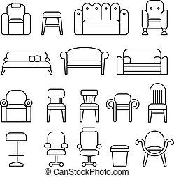 Furniture, chair, armchair, lounge, sofa, couch line vector icons