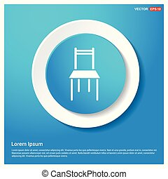 Furniture chair icon  Abstract Blue Web Sticker Button