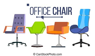Furniture Chairs Vector. Home, Office Objects. Design Interior Element. Modern Isolated Flat Illustration