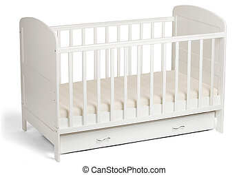 White wooden baby crib