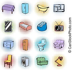 Furniture comics icons set