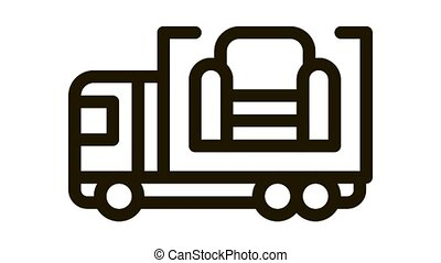 furniture delivery Icon Animation. black furniture delivery animated icon on white background