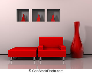 Furniture design 2 - A red armchair a stool and decoration -...