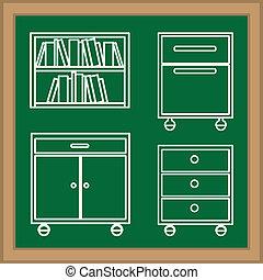 Furniture design over blackboard background, vector...