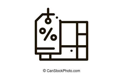 furniture discount Icon Animation. black furniture discount animated icon on white background