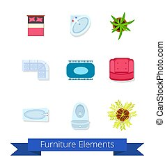 Furniture Elements Icons on Vector Illustration