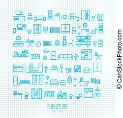 Furniture flat icons blue