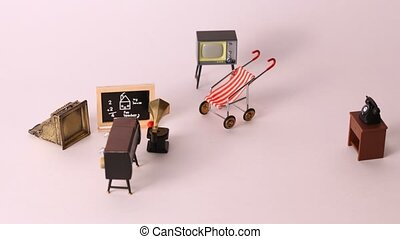 Furniture for dolls: TV, phone, player, carriage school...