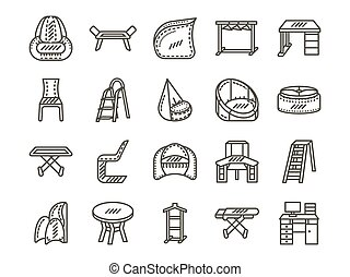 Furniture for home simple line vector icons set