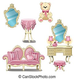 Furniture for interior girl room in pink color isolated on white background. Vector cartoon close-up illustration.
