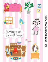 Furniture for paper doll. Dolls room interior. Children...