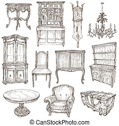 Furniture - Freehand sketches on white