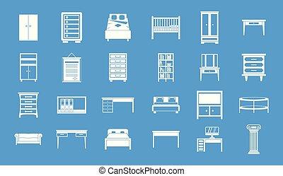 Furniture icon blue set vector