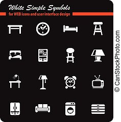 furniture icon set - furniture web icons for user interface...