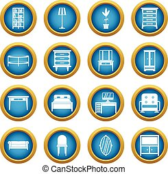 Furniture icons blue circle set