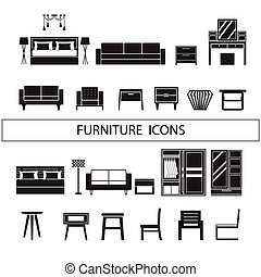 Furniture icons , dressing table, wardrobe, side table, chair, sofa, bed vector set