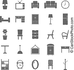 Furniture icons on white background, stock vector