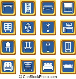 Furniture icons set blue