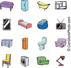 Furniture icons set cartoon