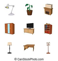 Furniture icons set, cartoon style