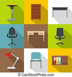 Furniture icons set, flat style - Furniture icons set. Flat ...