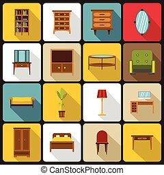 Furniture icons set, flat style