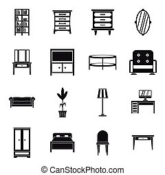 Furniture icons set, simple style