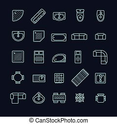 furniture icons set, top view