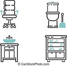 Furniture icons vector illustration.