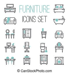 Furniture icons vector illustration.