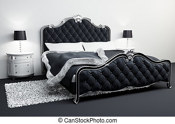 Furniture in bedroom interior. Apartment. Hotel. Bed. Lamps....