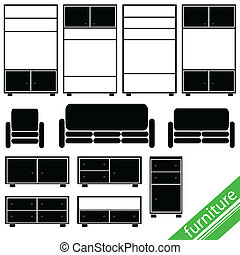 furniture in black for home set two illustration