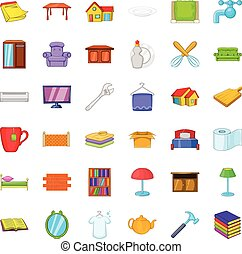 Furniture in house icons set, cartoon style