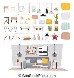 Furniture interior and home decor concept icon set flat...