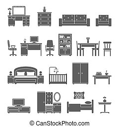 Furniture interior flat icons