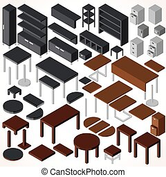 furniture., isometric, biuro, wektor, zbiór