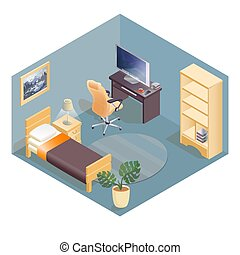 Furniture isometric icons. Cozy room with workspace.