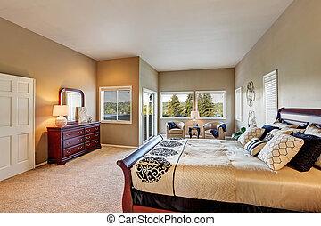 furniture., legno, pareti, beige, camera letto, interno, spazioso