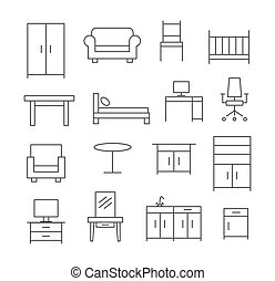 Furniture line icons on white