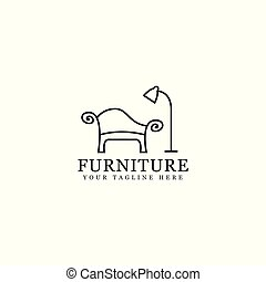 furniture logo design, simple design outline sofa vector...
