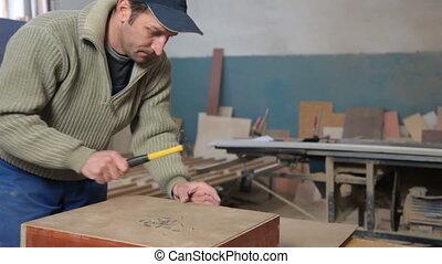 Furniture maker at work
