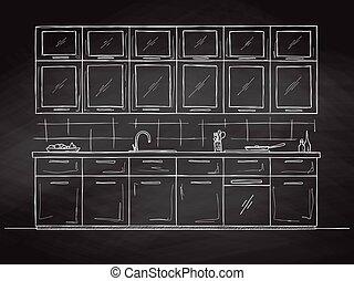 furniture., mano, vector, dibujado, ilustración, cocina, bosquejo