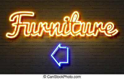 Furniture neon sign on brick wall background.