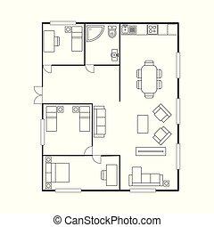 furniture., pavimento, casa, piano, piano, architettura